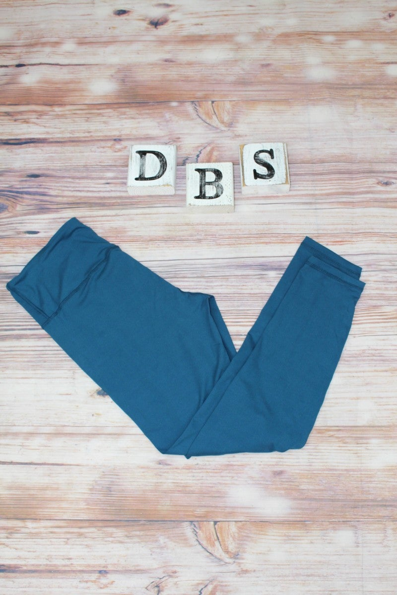 High Waisted Yoga Leggings in Olympic Teal