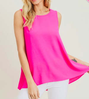 The Perfectly Penelope Sleeveless Top in Hot Pink