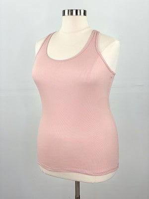 Fitted Ribbed Layering Tank in Rose Pink