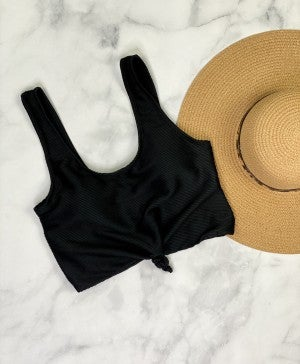 The Miraval Cropped Swim Top in Black