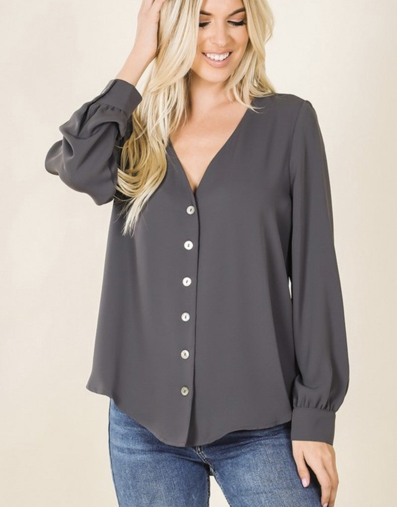 The Boss Blouse in Fountain Stone