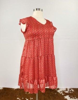 Radiant Red Peony Boho Dress