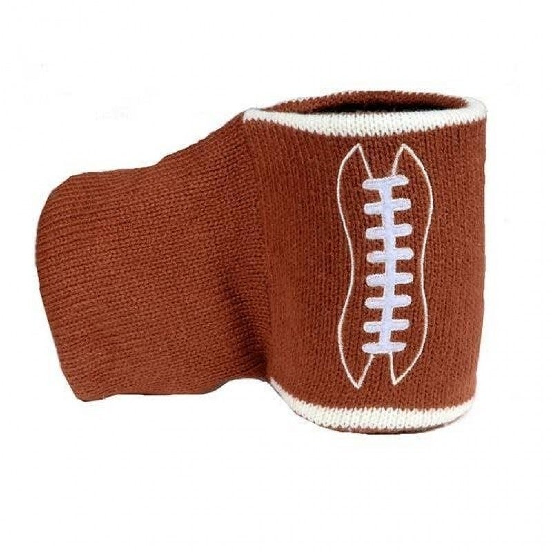 Knit Football Cozy Can Cooler