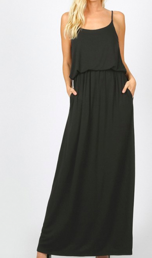 The Two-Layer Maxi Dress in Black