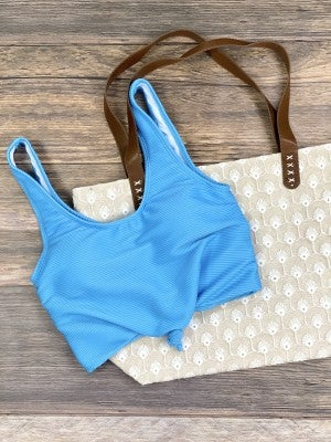 The Miraval Cropped Swim Top in Blue