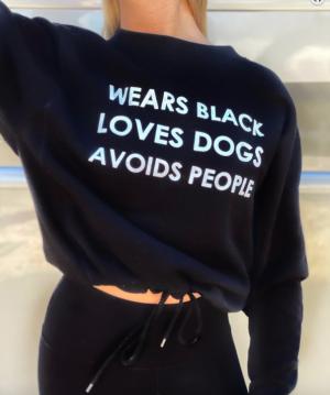 Wears Black, Loves Dogs, Avoids People Crewneck Sweatshirt