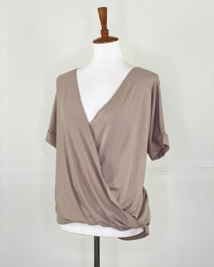 The Slouchy Summer Wrap Top in Ash Mocha