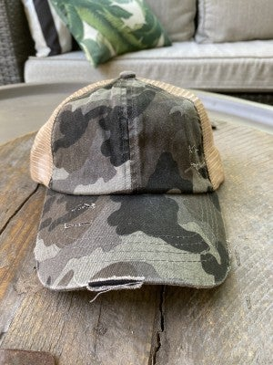 The Cora Camo Ponytail Hat