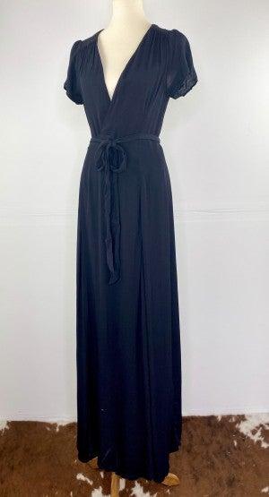 The Simple Tie Black Maxi Wrap Dress