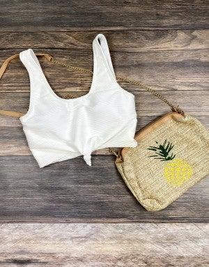 The Miraval Cropped Swim Top in White