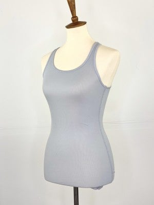 Fitted Ribbed Layering Tank in Light Grey
