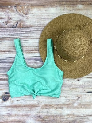The Miraval Cropped Swim Top in Mint