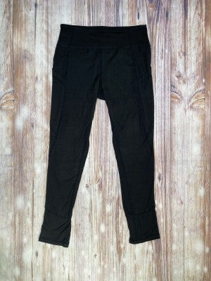 High Waisted Side Pocket Yoga Legging With Stitching In Black