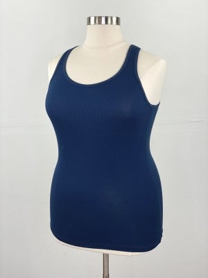 Fitted Ribbed Layering Tank in Navy