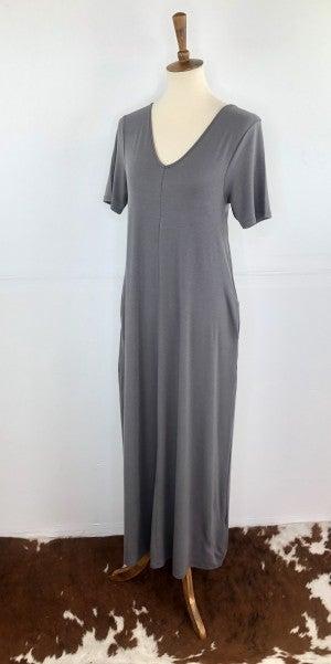 Fountain Stone V-Neck Short Sleeve Maxi Dress