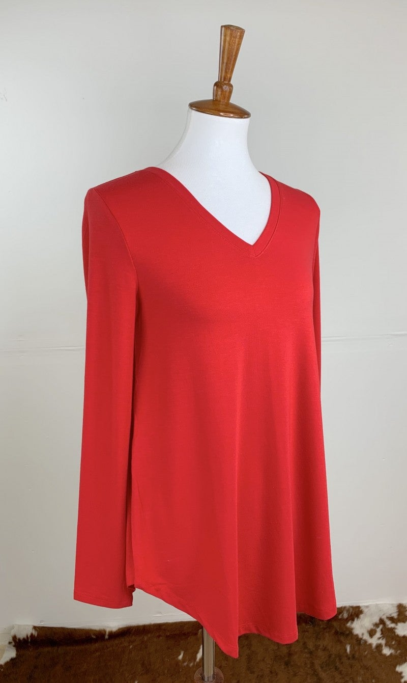 Favorite Long Sleeve V-Neck Tee in Ruby