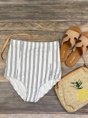 High Waisted White With Black Stripes Swimsuit Bottoms