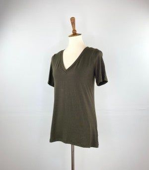 The Classic New V-Neck Tee in Olive