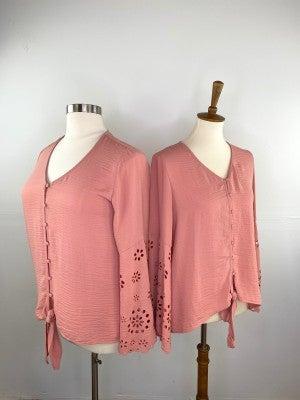 Radiant Rose Bell Sleeve Blouse