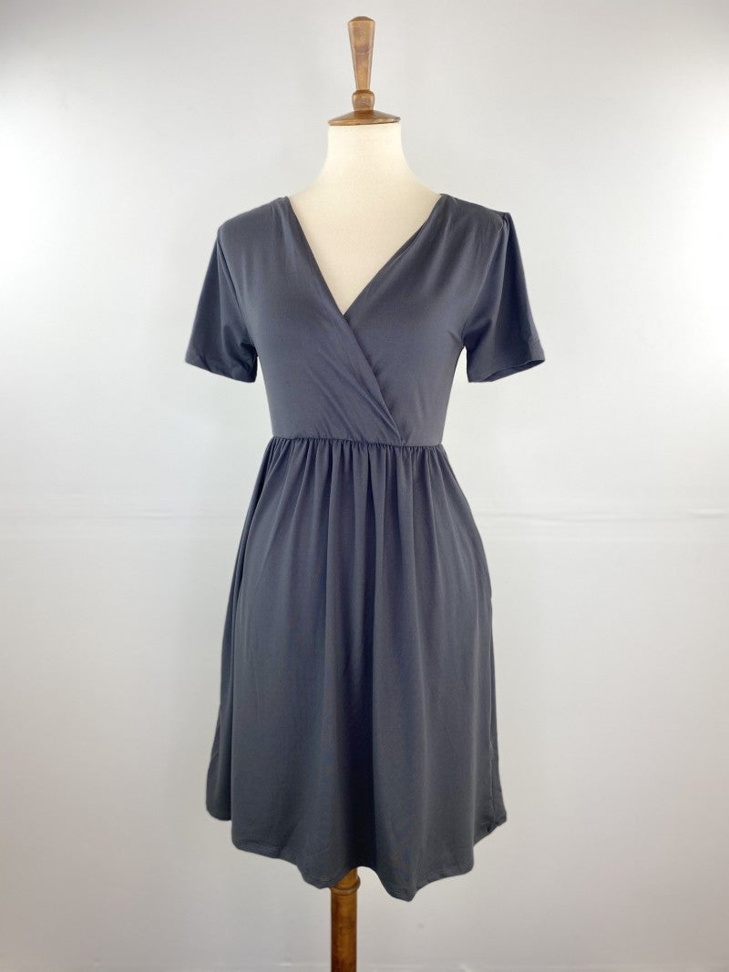 Favorite V-Neck Empire Waist Dress in Fountain Stone