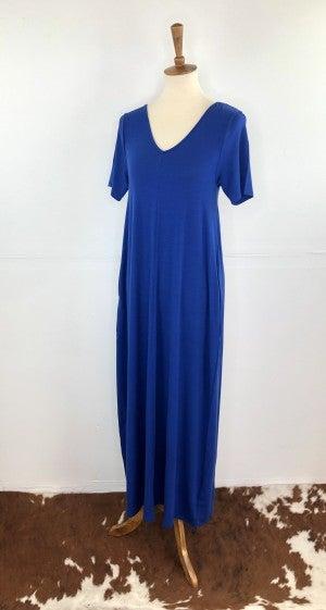 Admiral Blue V-Neck Short Sleeve Maxi Dress