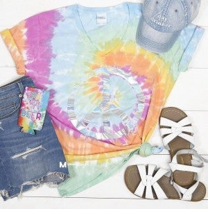 Holographic Peace Sign Tie Dye V-Neck Tee
