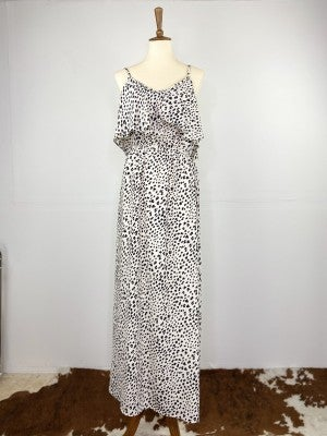 The Black and White Cold Shoulder Leopard Maxi Dress