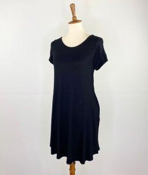 Ready to Go Black T-Shirt Dress