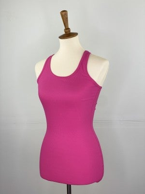 Fitted Ribbed Layering Tank in Hot Pink