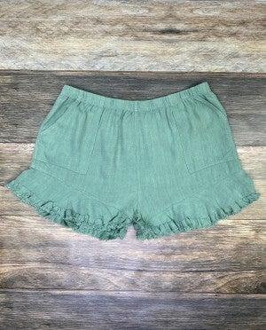 Sage Green Linen Elastic Waist Ruffle Hem Shorts