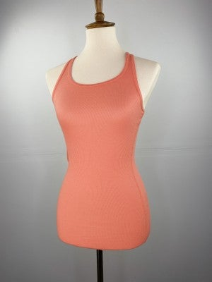 Fitted Ribbed Layering Tank in Coral