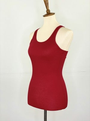 Fitted Ribbed Layering Tank in Red