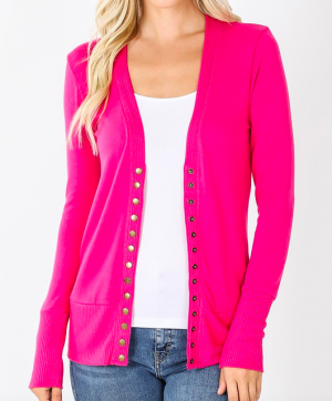 Our Favorite Snap Cardigan in Hot, Hot, Hot Pink!
