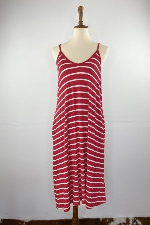 Favorite Spaghetti Strap Midi Dress in Ruby and Ivory