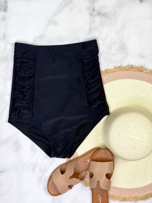 The Perfect Black High Waisted Ruched Swimsuit Bottom