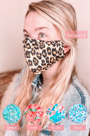 Floral and Leopard Protective Mask With Filter