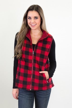 Plaid To Be Here Vest - Red