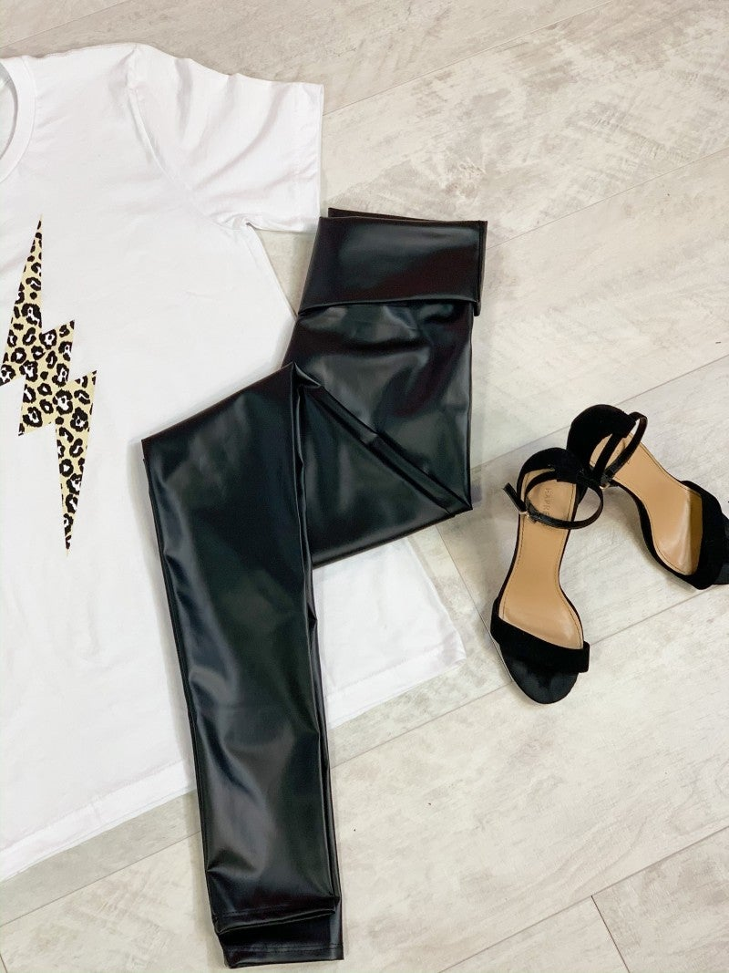 High Waist Pleather Leggings