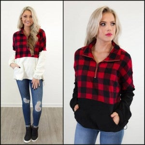 Completely Plaid for You Pullover
