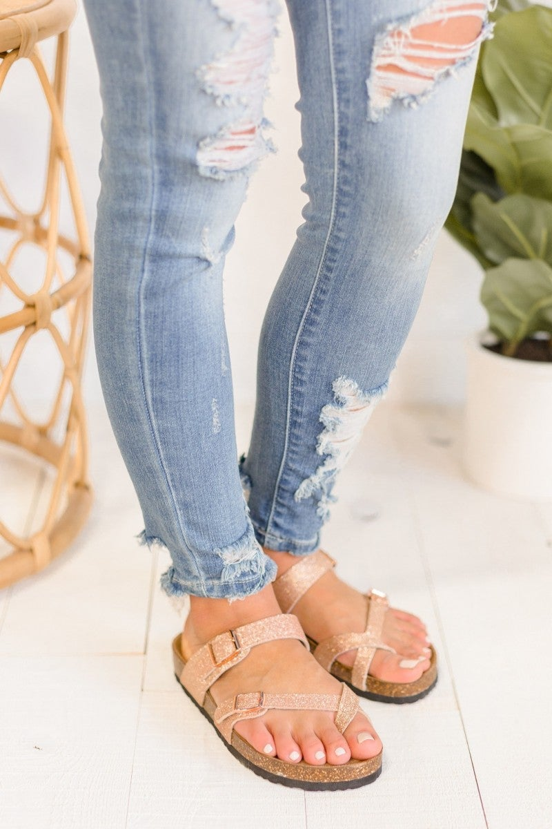 On The Right Track Sandal - Rose Gold - 868