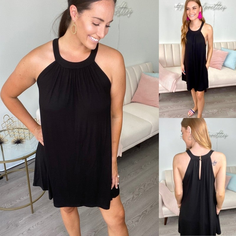 Paloma Please Halter Neck Black Dress