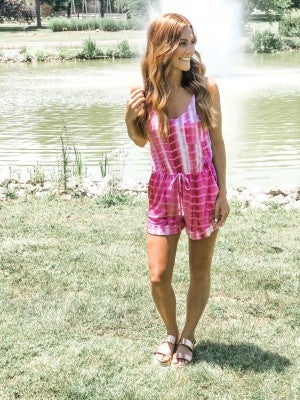 Life is Good Pink Tie Dye Romper