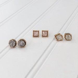 Druzy Stud Earrings Set of Three