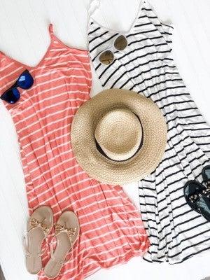 Country Club Striped Midi Dress