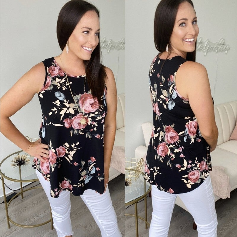 Day-to-Night Black Floral Tank