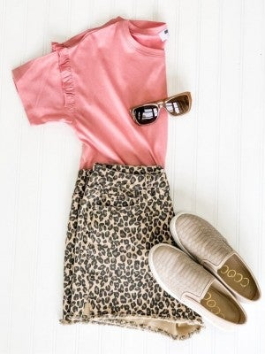 Into the Wild Leopard Denim Shorts