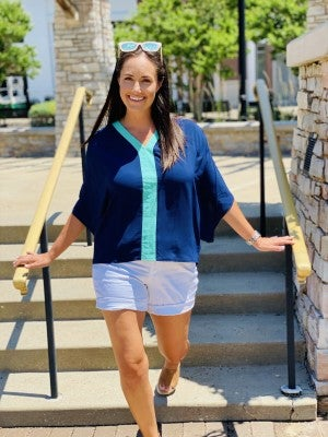 Summer Blues Colorblock Top