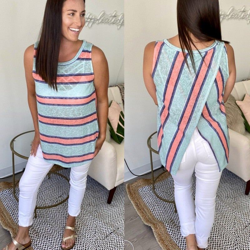 Boardwalk Babe Striped Tank