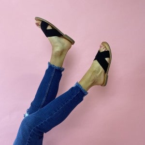 Cross My Heart Sandals - Black