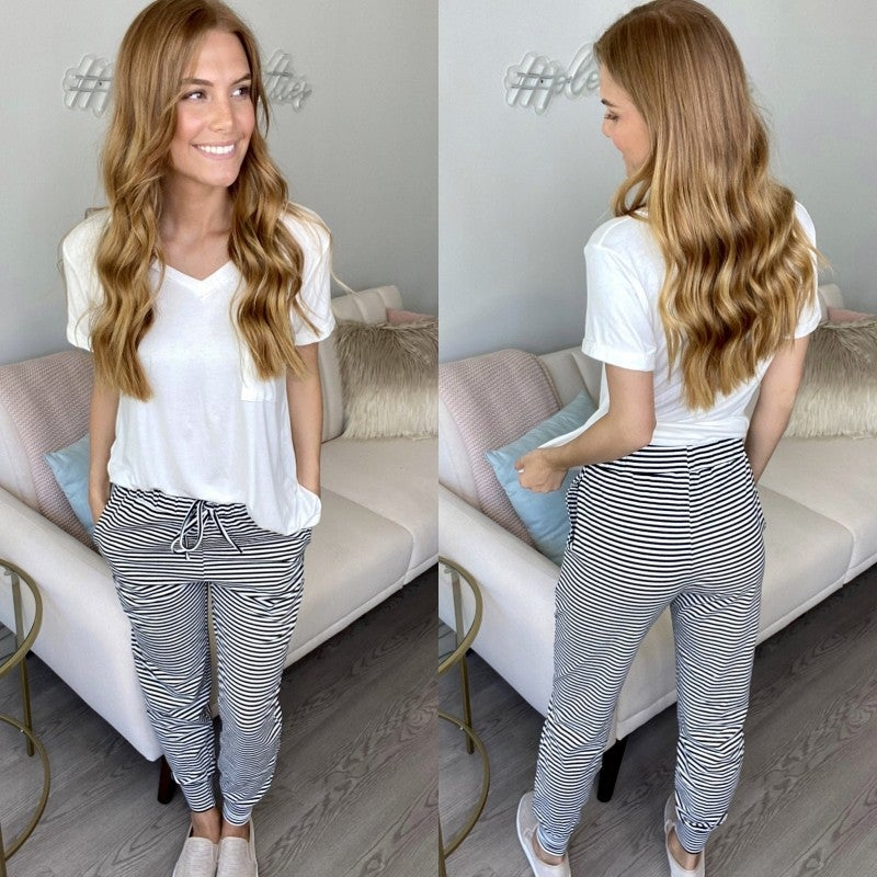 Sunday Best Black and White Striped Jogger